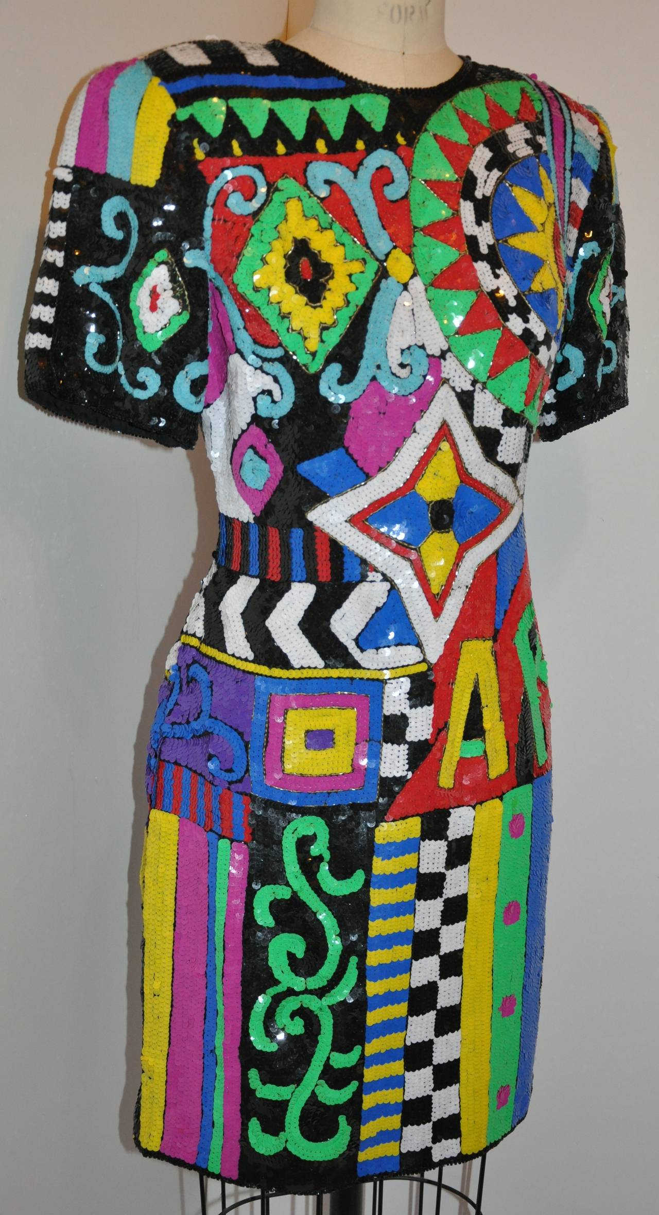 Lawrence Kazar Bold Multi-color &quot-Billboard&quot- Sequin Dress For Sale ...