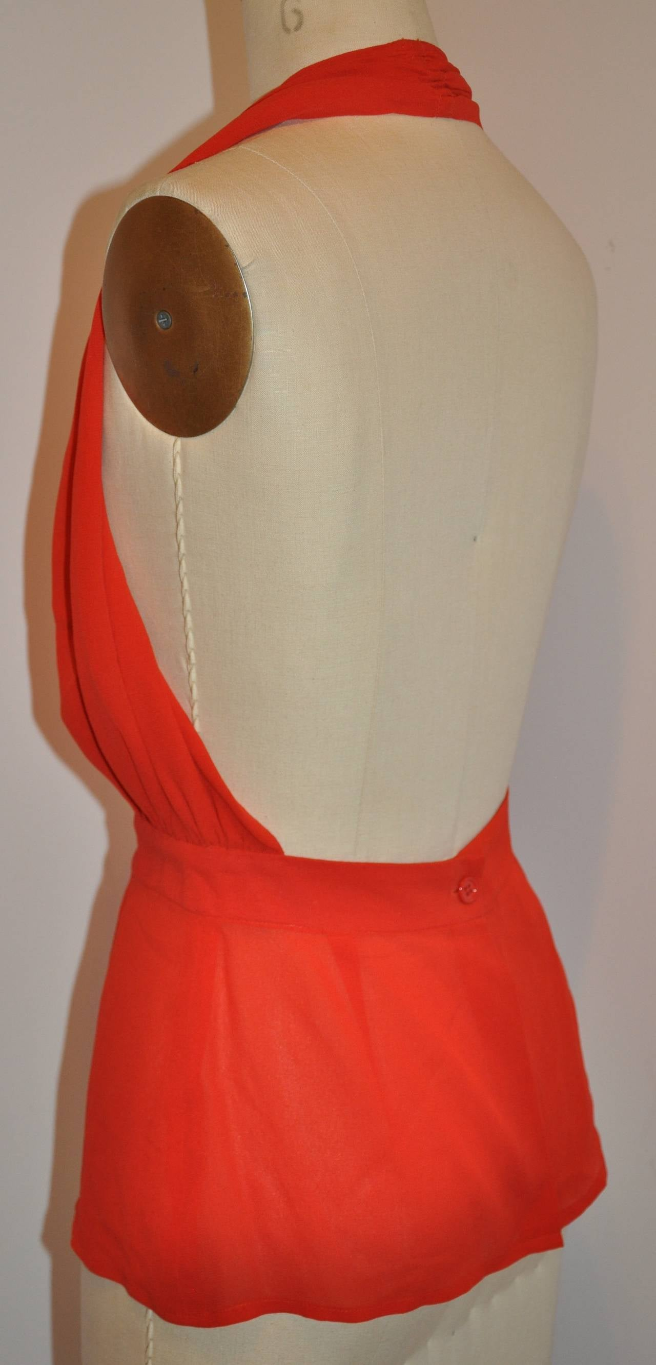 Women's Halston Signature Double-Layered Red Crepe Halter Button Top For Sale