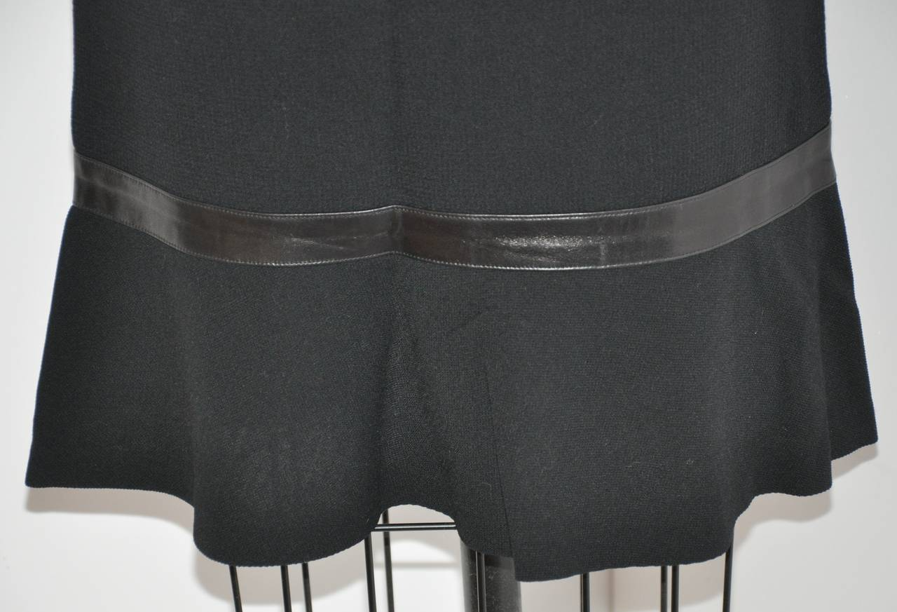 Luca Luca Black Wool Crepe Skirt with Leather Accent In Excellent Condition In New York, NY