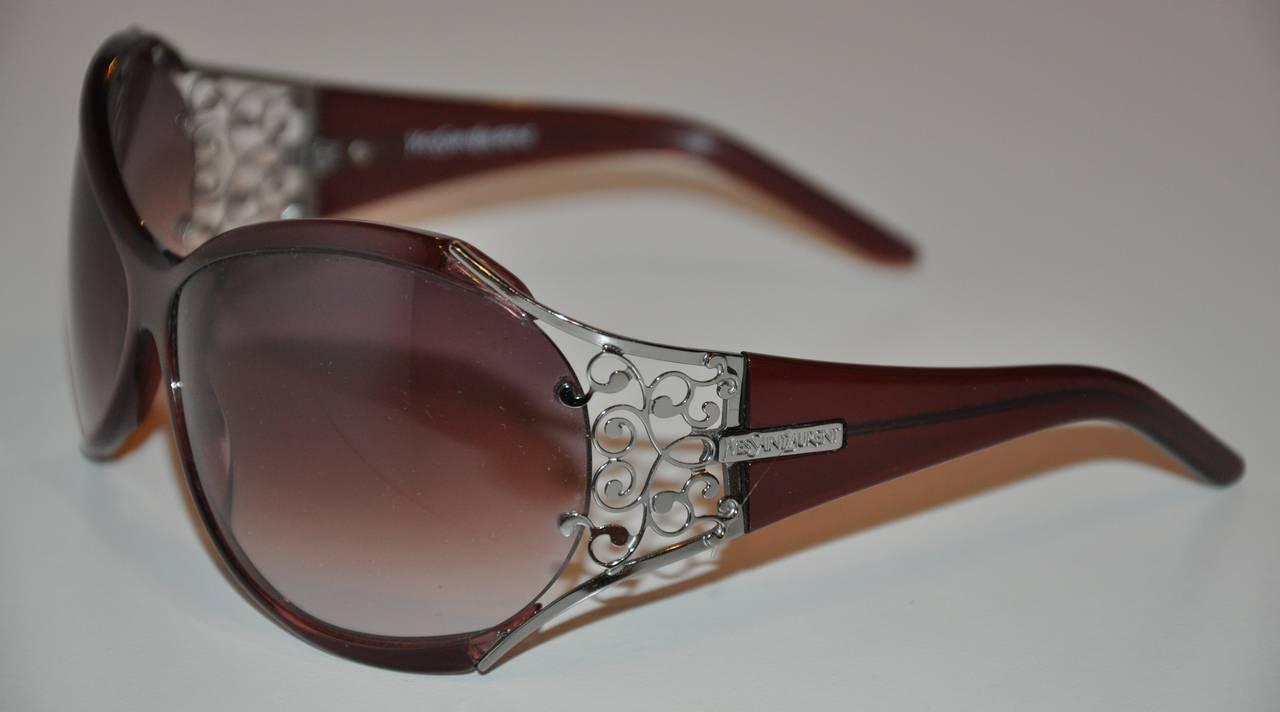 "Yves Saint Laurent Violet Lucite ""Swirls"" Hardware Accent Sunglasses 2"