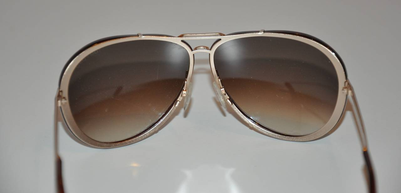 Black Tom Ford Brown Lucite with Gold Hardware Frame and Accent Sunglasses For Sale