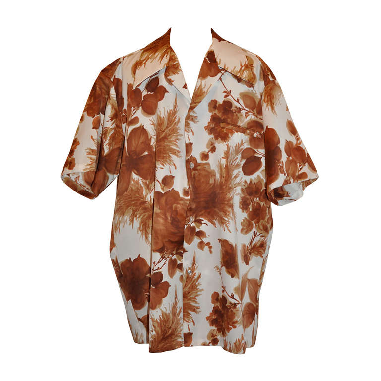 Launala men 39 s brown and white floral hawaiian shirt at 1stdibs for Mens white floral shirt