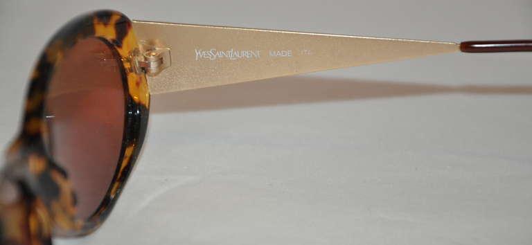 Yves Saint Laurent Tortoise Shell with Textured Gold Hardware Sunglasses 3