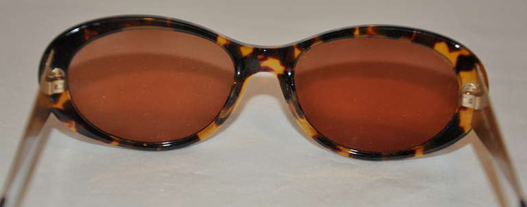 Yves Saint Laurent Tortoise Shell with Textured Gold Hardware Sunglasses 5