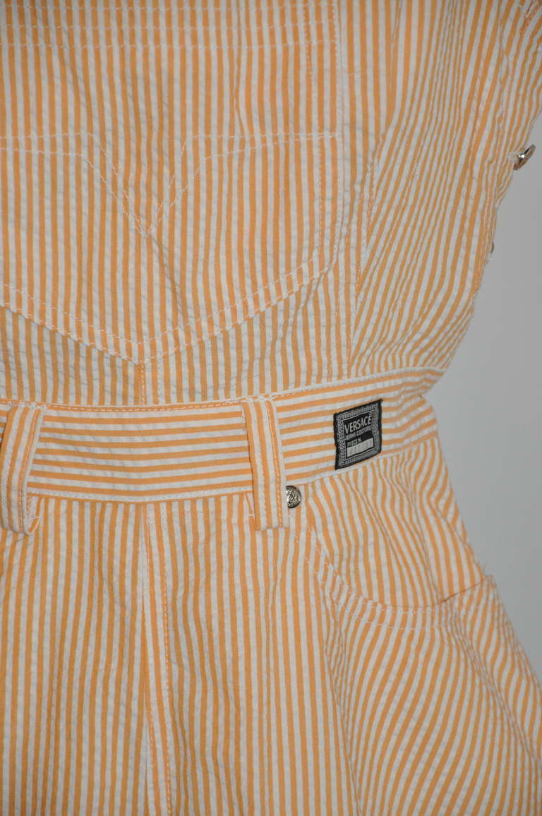 "Versace ""Couture"" Numbered Tangerine & White Mini Overalls 4"