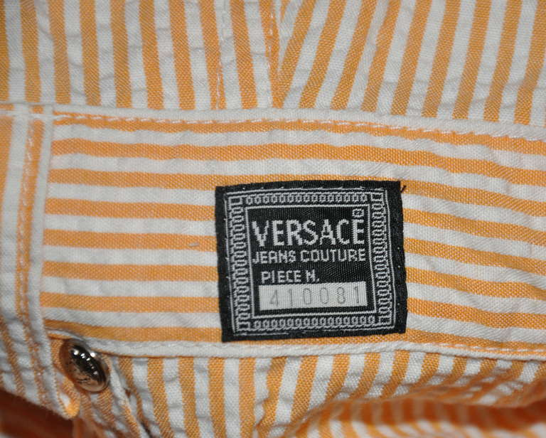 "Versace ""Couture"" Numbered Tangerine & White Mini Overalls 3"