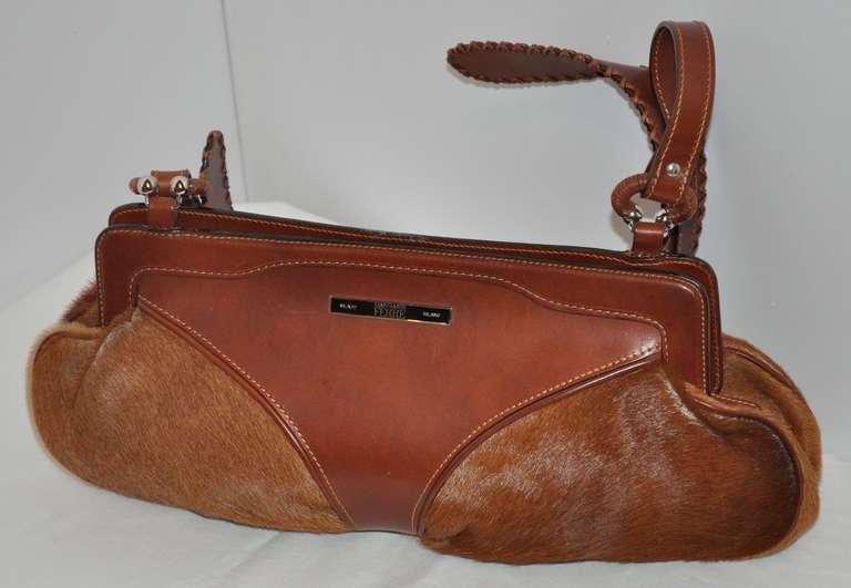 Gianfranco Ferre Gianfranco Ferre Warm Brown Leather And Pony Shouler Bag kImkFn