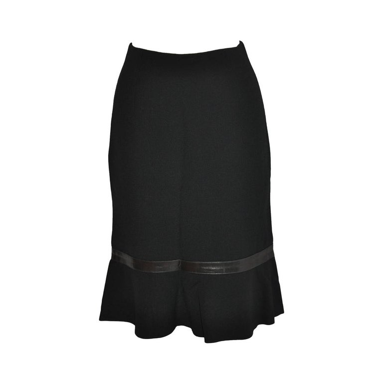 Luca Luca Black Wool Crepe Skirt with Leather Accent