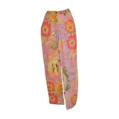 "Ferragamo ""Parrot & Floral"" Multi-color Stretch Jeans"