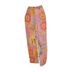"""Ferragamo """"Parrot & Floral"""" Multi-color Stretch Jeans"""