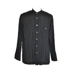Issey Miyake Men's Black Accordian Shirt with Mother-of-Pearl Accent