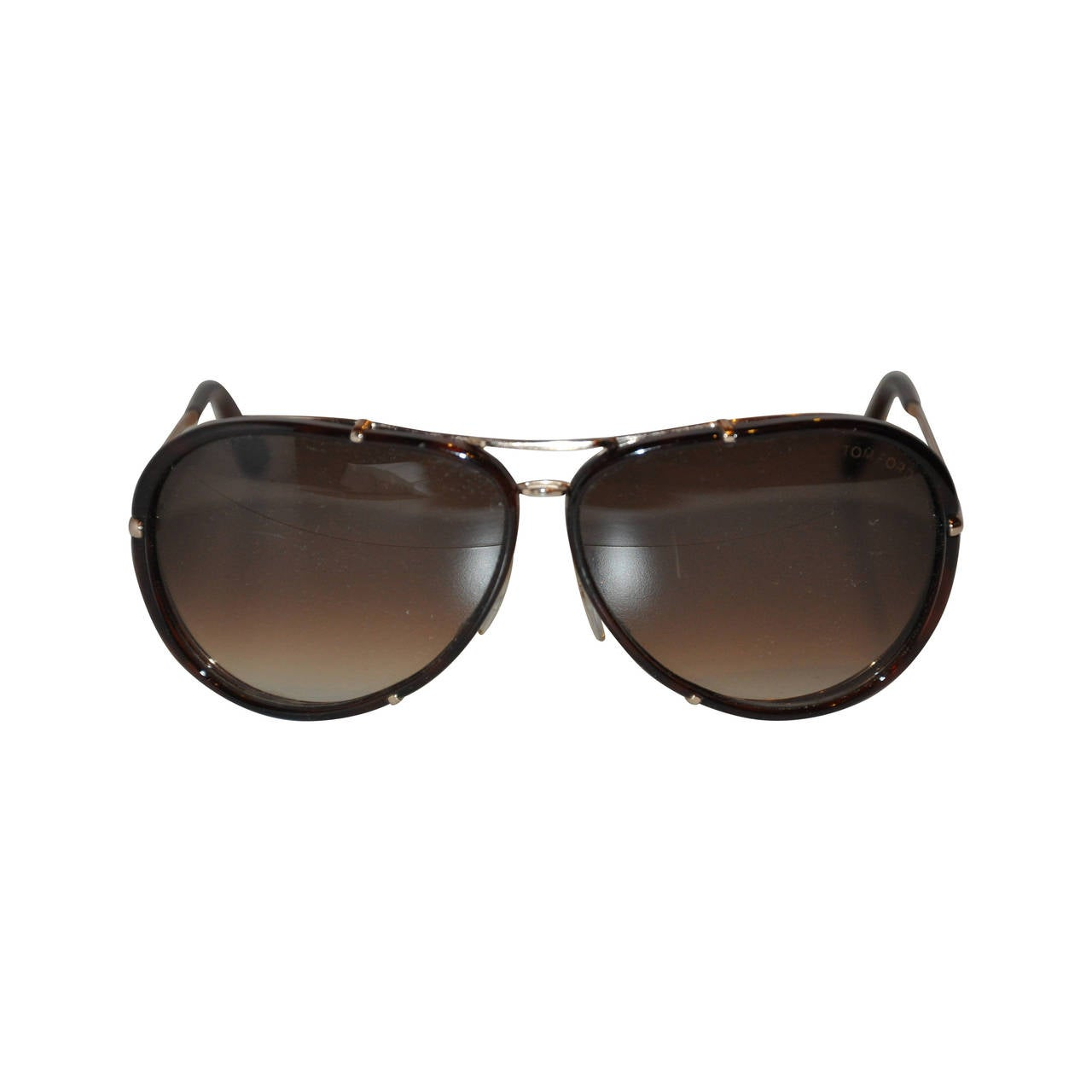 Tom Ford Brown Lucite with Gold Hardware Frame and Accent Sunglasses For Sale