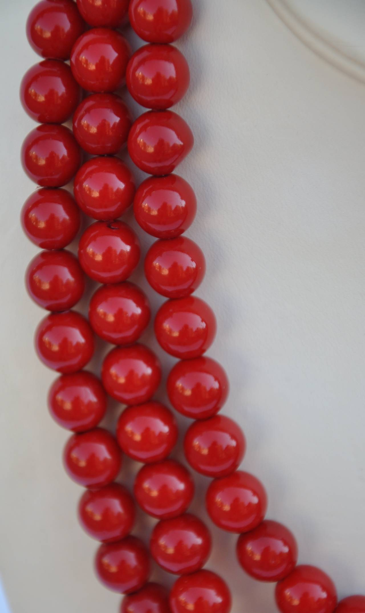 Bold Triple-Strand Blood-Red Necklace 2