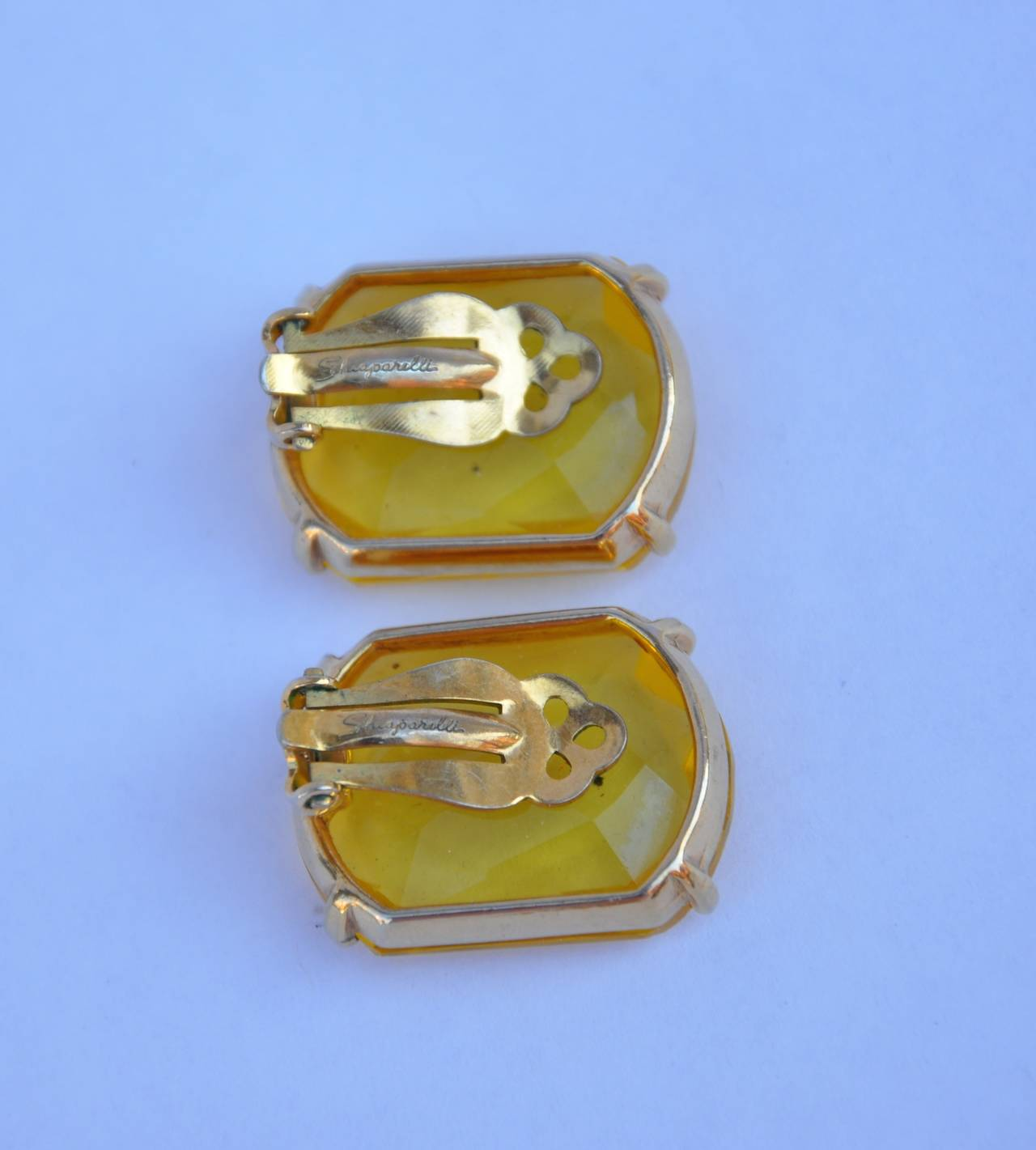 Schiaparelli Gilded Gold with Canary-Hue Ear Clips In Good Condition For Sale In New York, NY