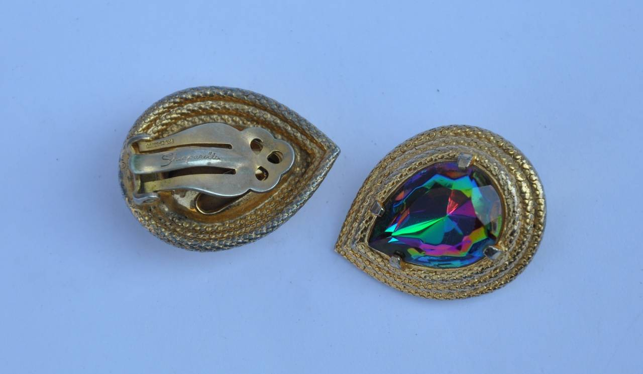 Schiaparelli Gilded Gold Vermeil Filigree with Iridescent Stone Earrings 2