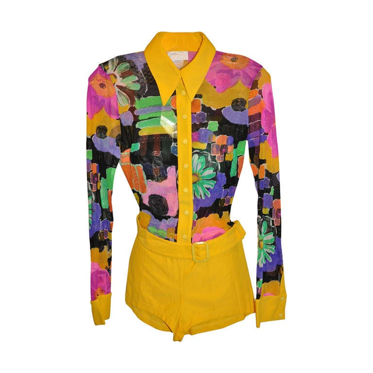 Gottex Bold Abstract Netted Bodice & Bold Yellow Jumper with Belt