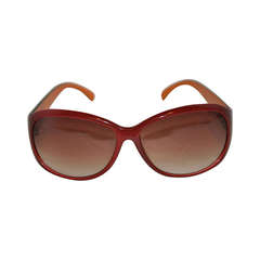 Loulou de la Falaise Warm Brown Lucite Sunglasses with Case