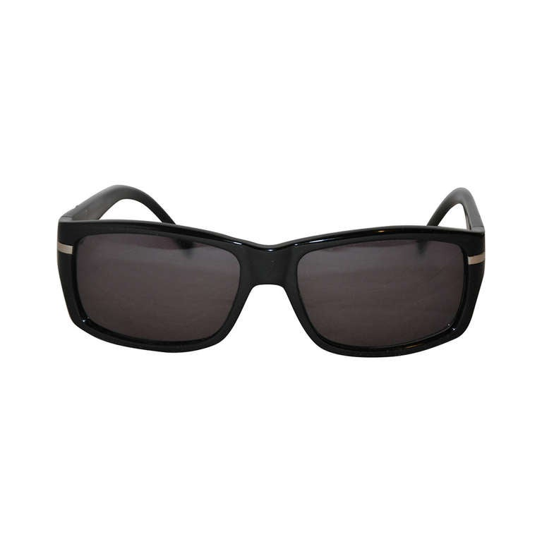 Yves Saint Laurent Black Lucite with Gold Hardware Sunglasses