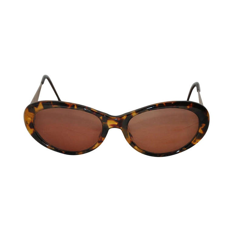 Yves Saint Laurent Tortoise Shell with Textured Gold Hardware Sunglasses