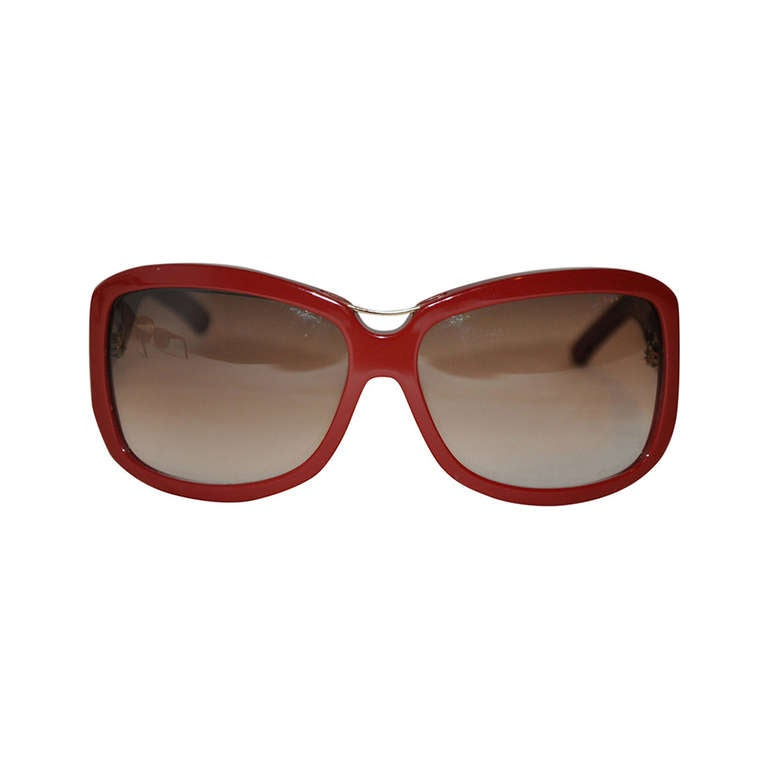"Yves Saint Laurent Burgundy Lucite with ""Y"" Gold Hardware Sunglasses"