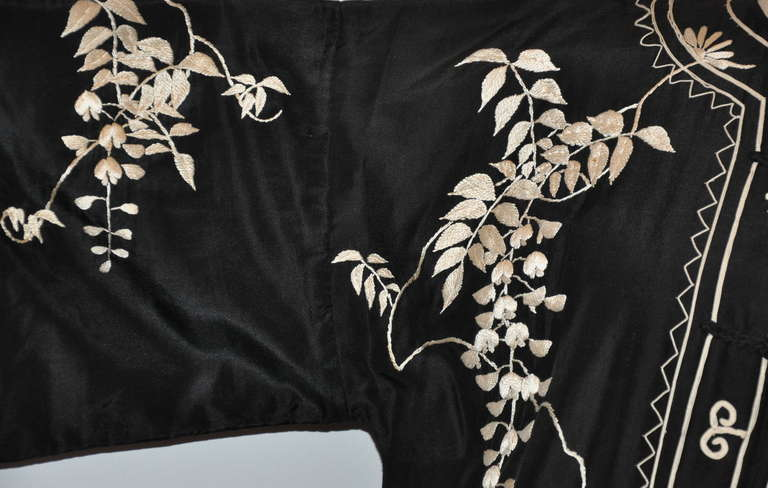 "Black Vintage Kimono of Hand-Embroidered ""Floral with Branches & Leaves"" For Sale"