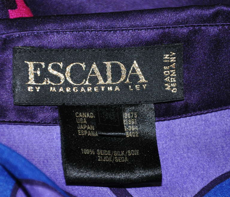 Women's Escada by Margaretha Ley Multi-Color Bold Abstract Crepe de Chine Blouse For Sale