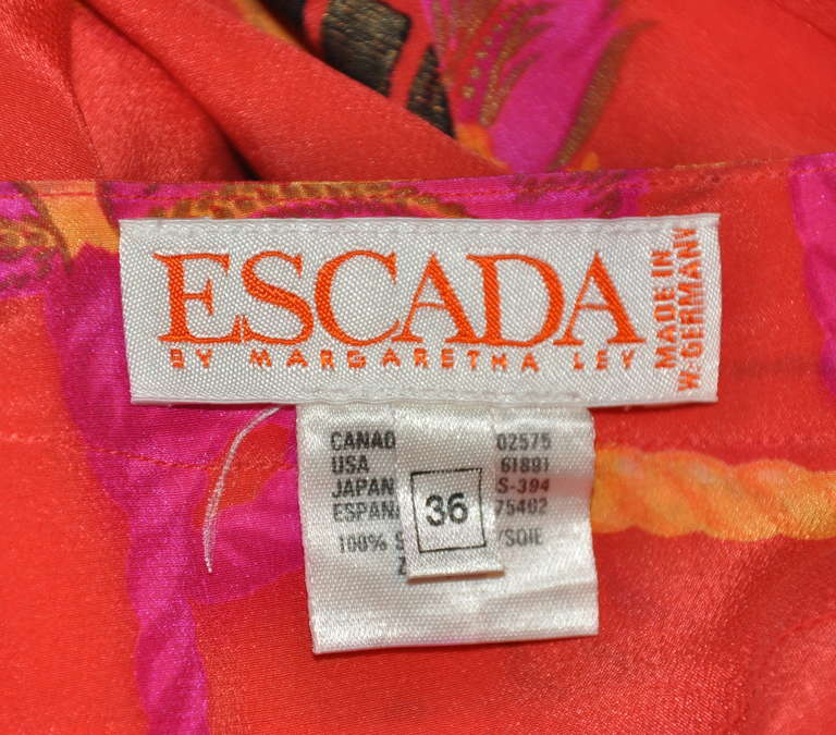 Red Escada by Margaretha Ley Bold Tangerine with Multi-color Crepe de Chine Blouse For Sale