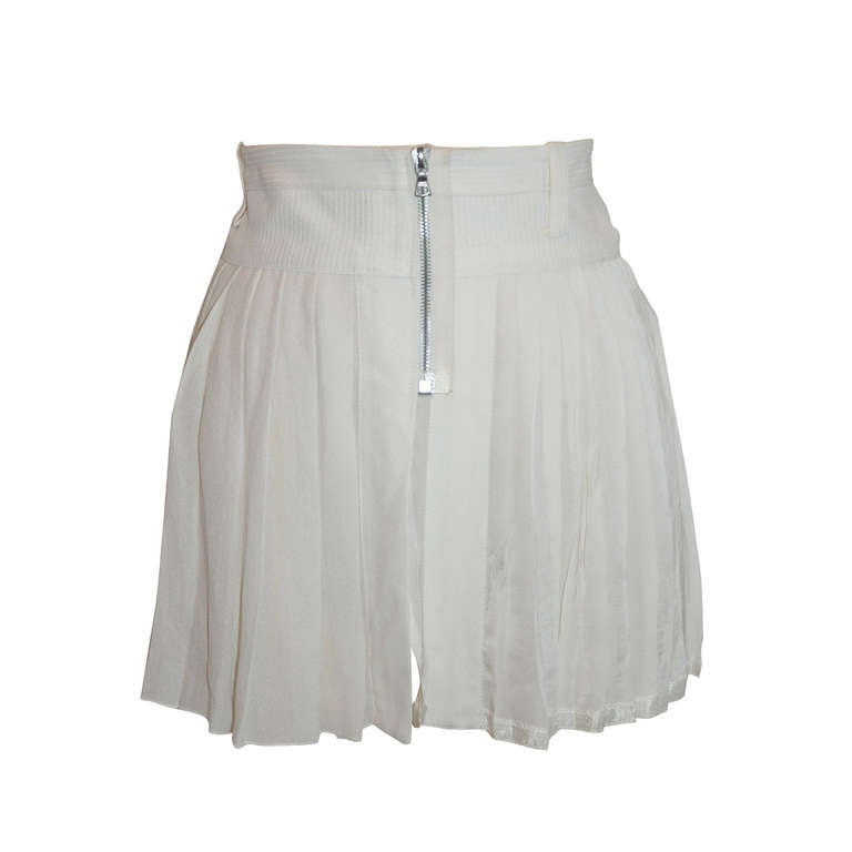 Marc Jacobs White Silk Pleated Zipper Front Mini Skirt For Sale