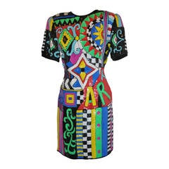 "Lawrence Kazar Bold Multi-color ""Billboard"" Sequin Dress"