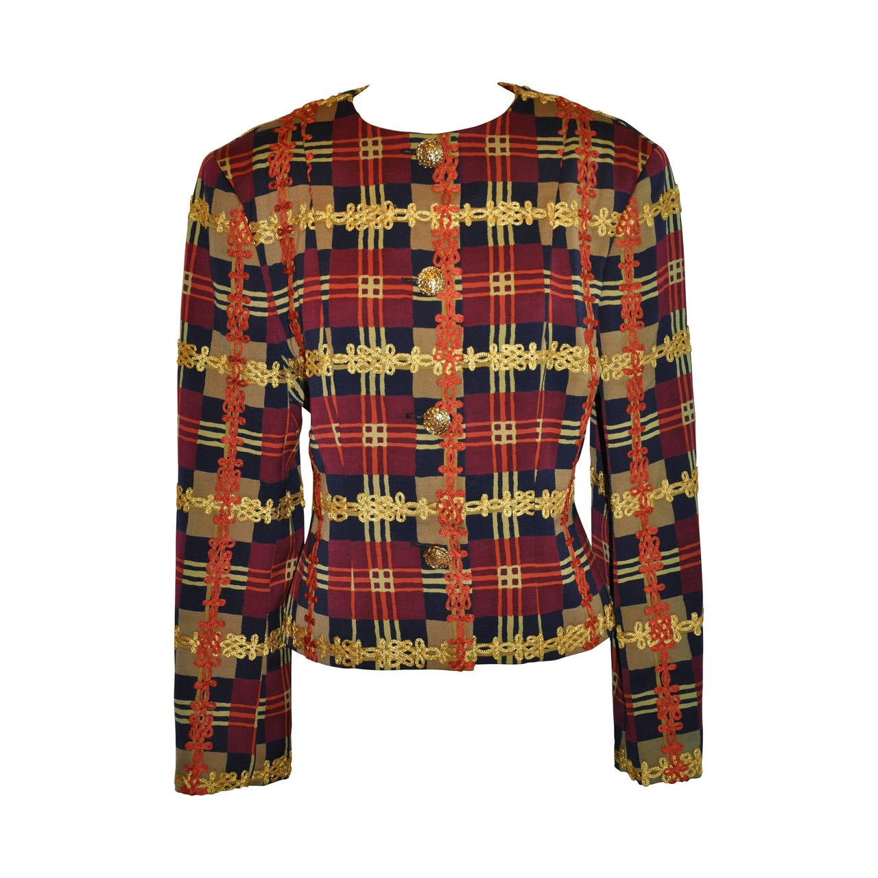 christian lacroix multi color multi plaid cropped jacket for sale at 1stdibs. Black Bedroom Furniture Sets. Home Design Ideas