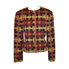 Christian LaCroix Multi-color Multi-plaid Cropped Jacket