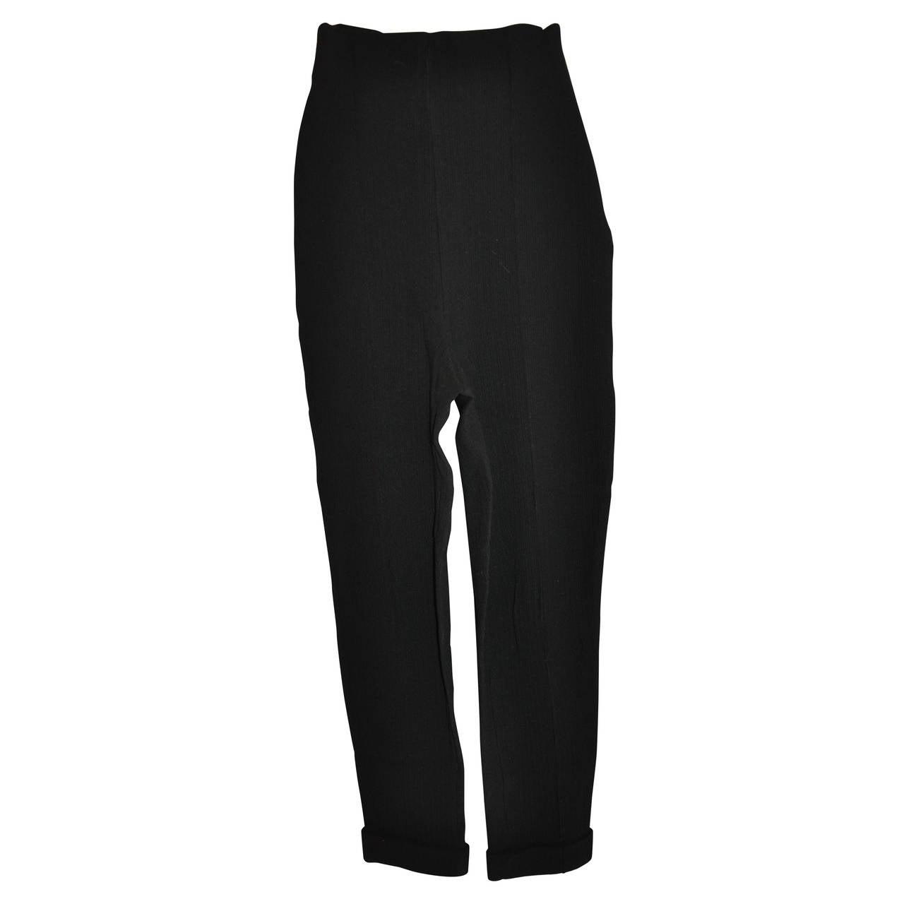 Romeo Gigli Black High-Waist Side-Zipper Trouser