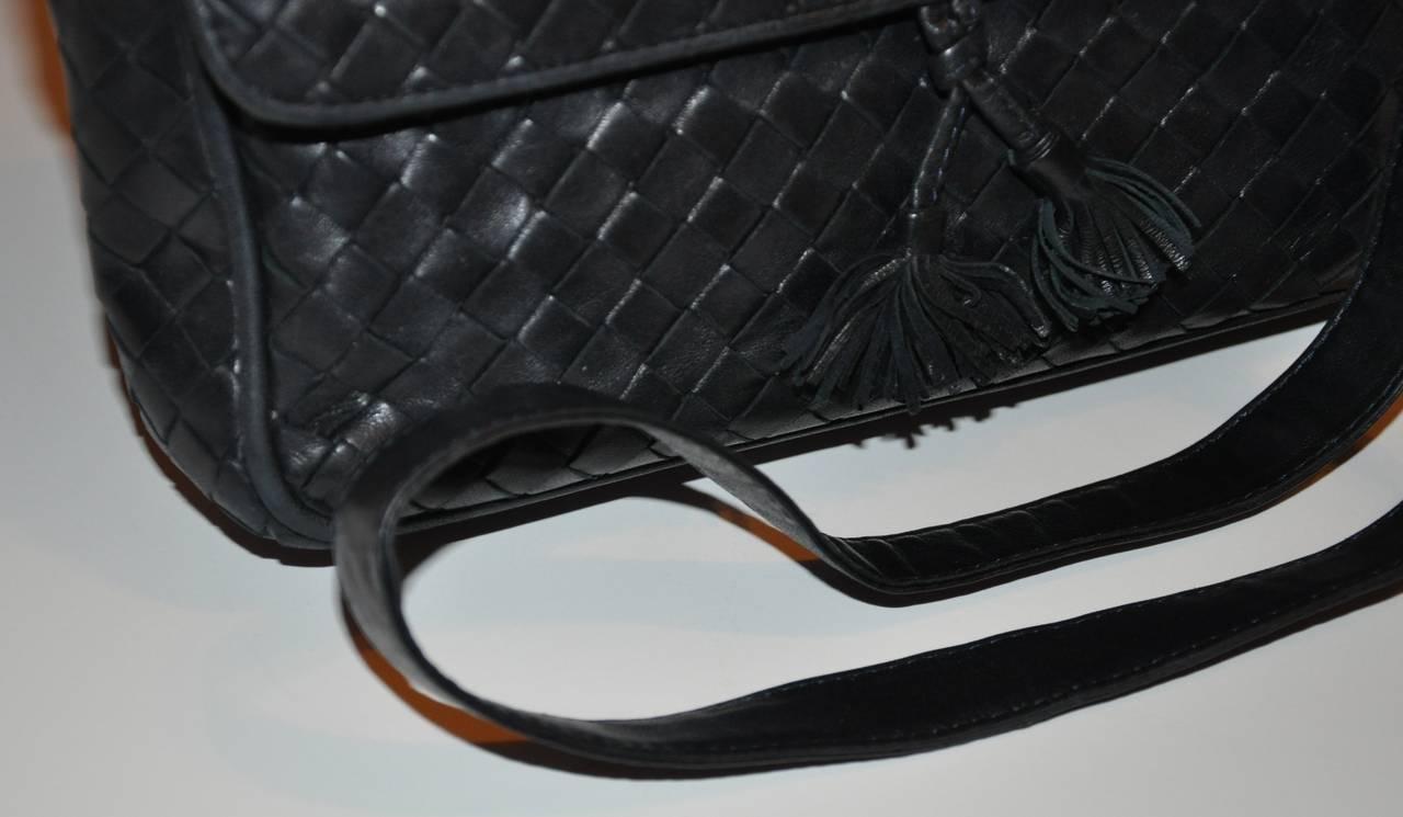 Women's Bottega Veneta Signature Woven Lambskin with Tassles Clutch/ Shoulder Bag For Sale