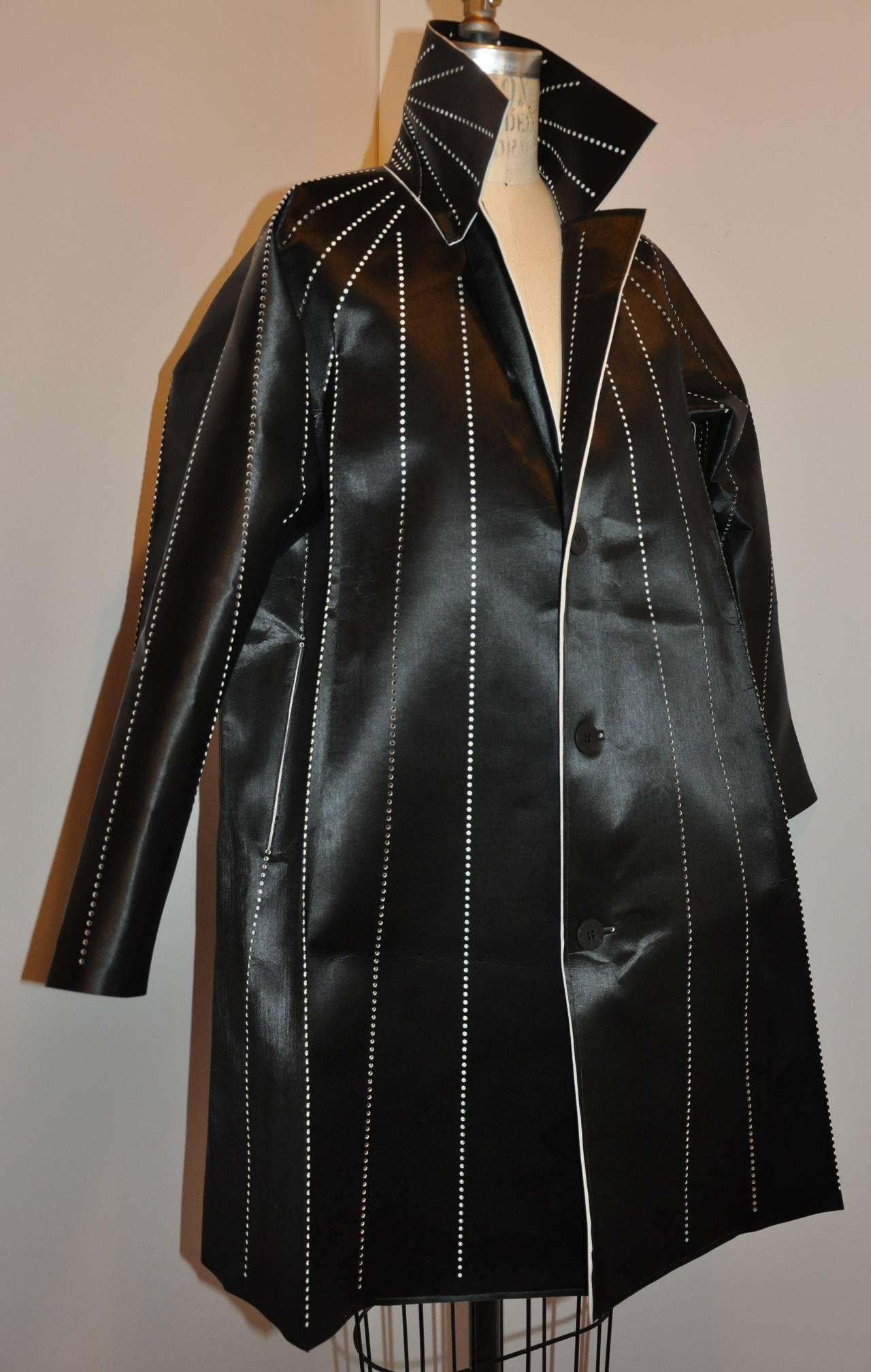 Black Issey Miyake Dark Navy Flared Stencil Jacket For Sale