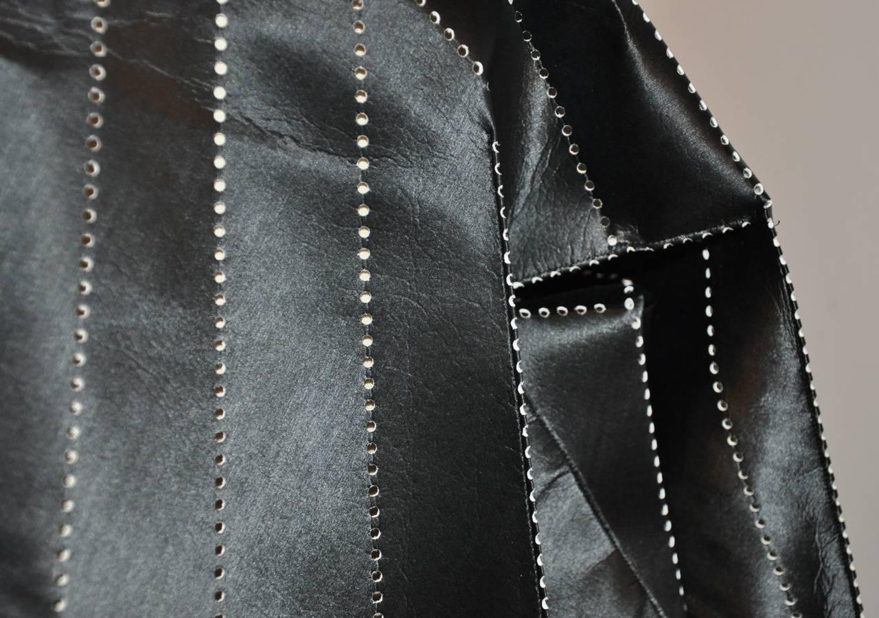 Issey Miyake Dark Navy Flared Stencil Jacket For Sale 4