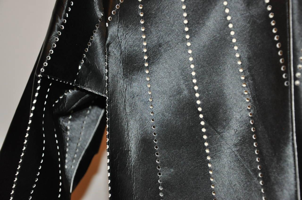 Issey Miyake Dark Navy Flared Stencil Jacket For Sale 5