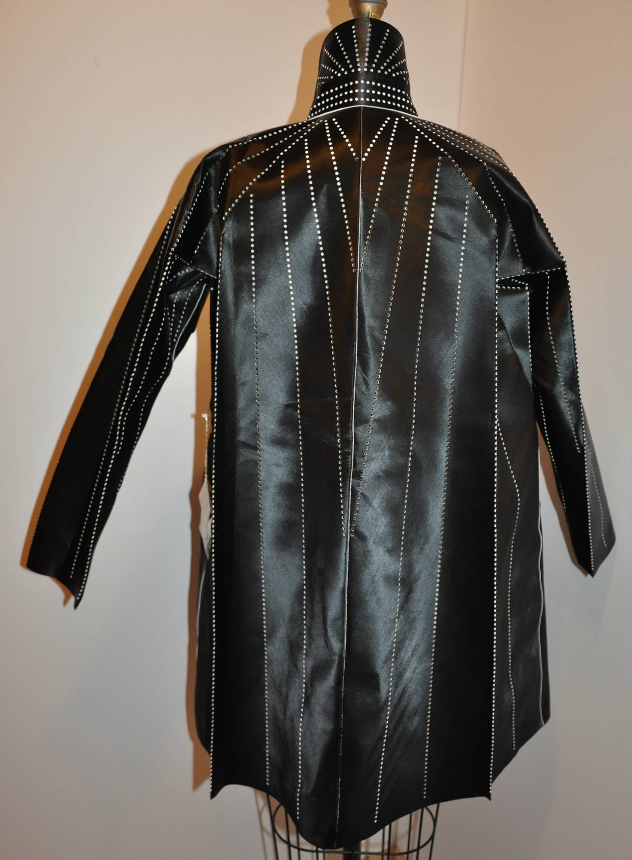 Issey Miyake Dark Navy Flared Stencil Jacket In New never worn Condition For Sale In New York, NY