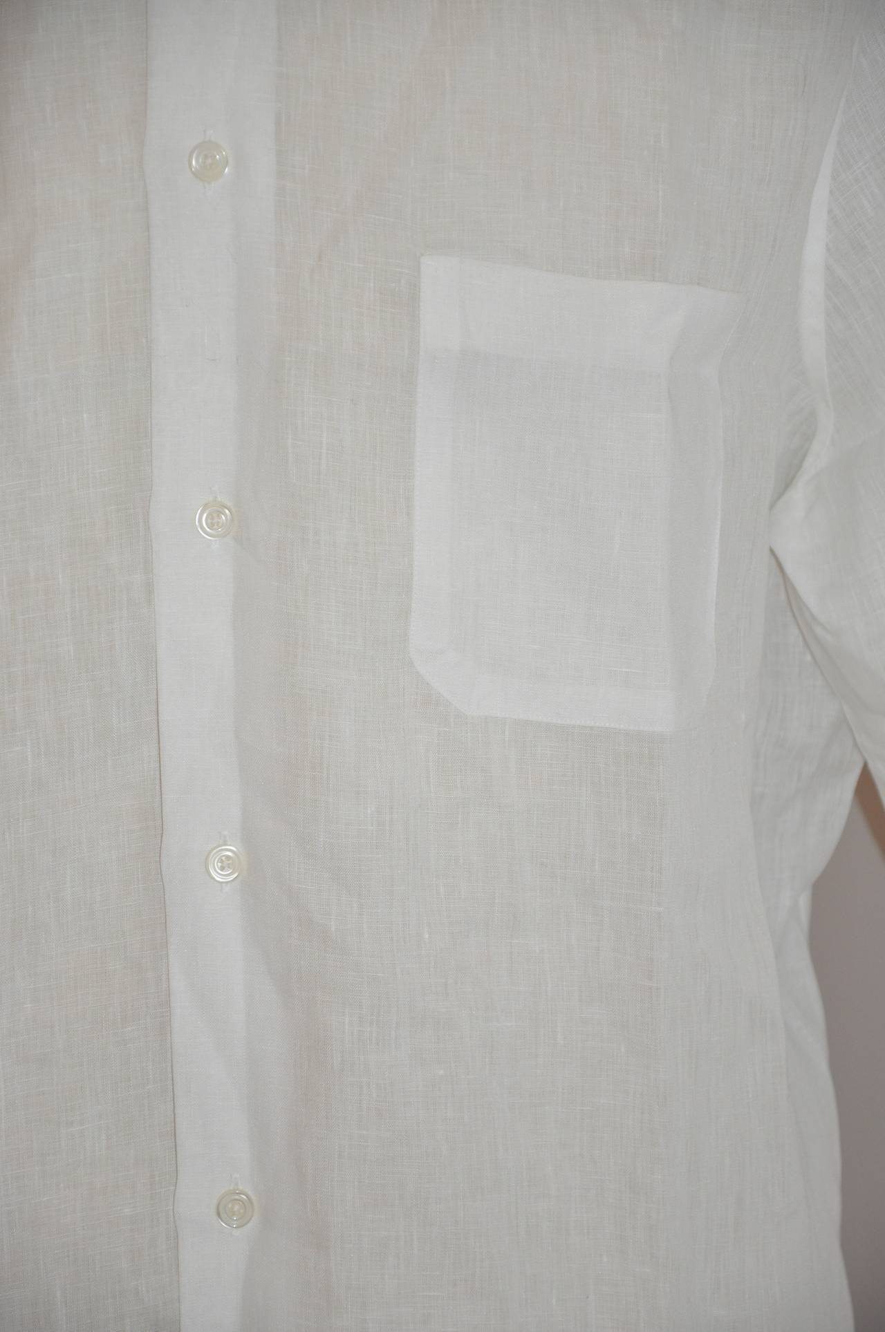 Hermes Men's White Linen Button Shirt with Detailed Cuffs For Sale 1