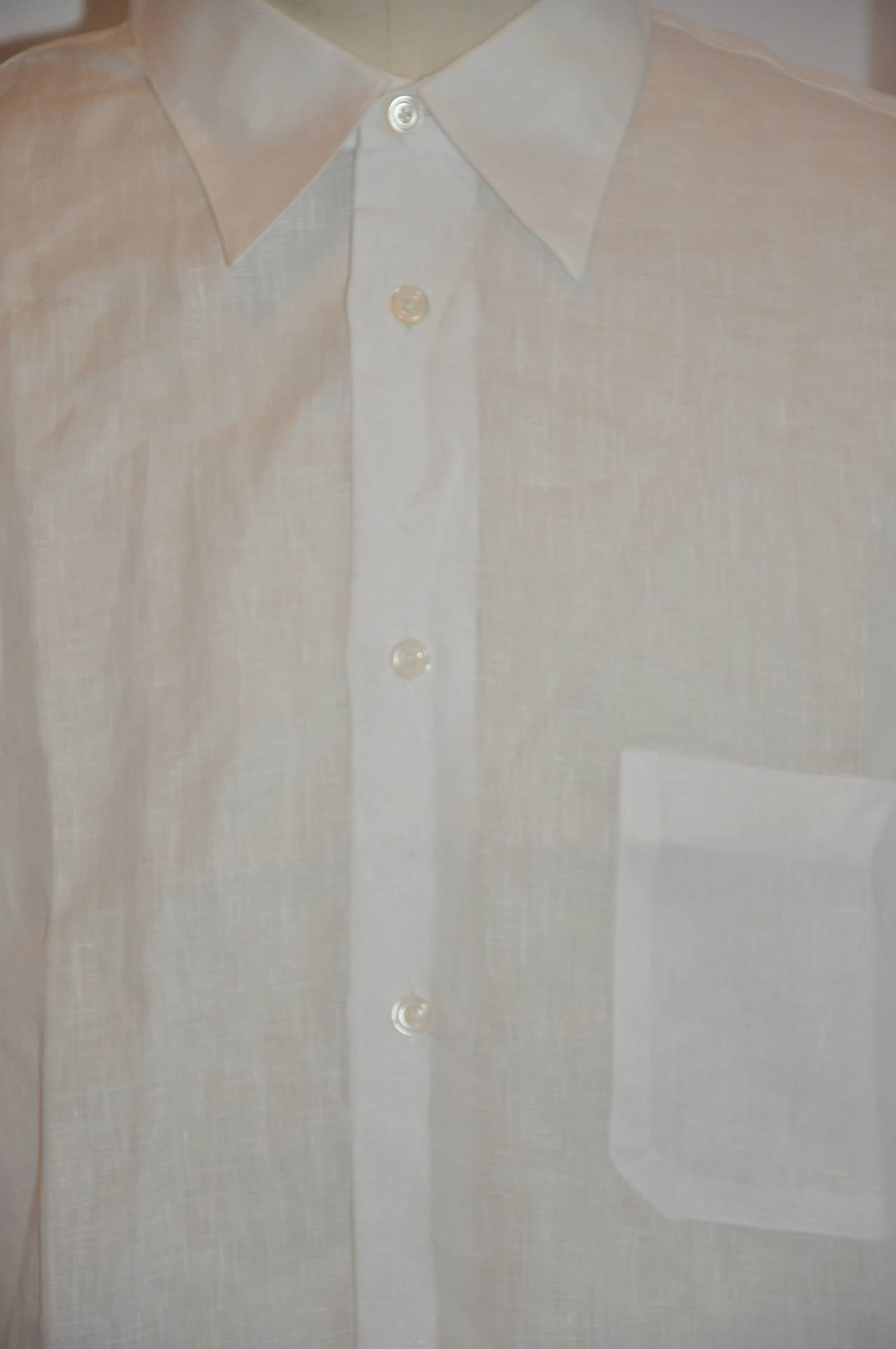 Hermes Men's White Linen Button Shirt with Detailed Cuffs For Sale 4