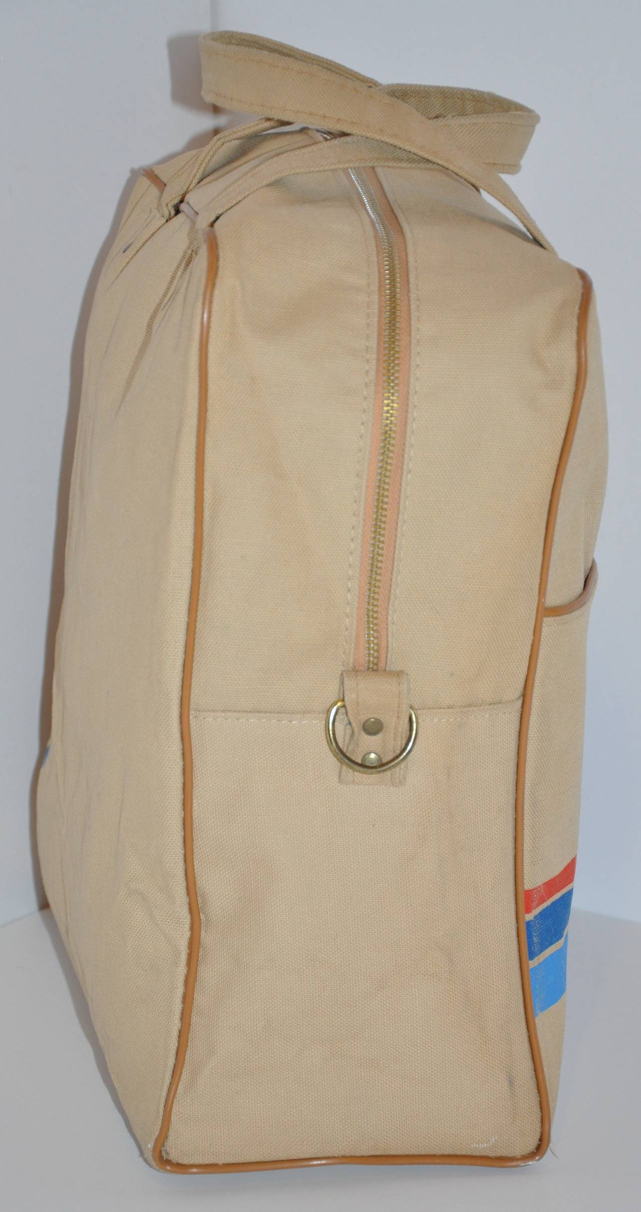 Brown Rare Pan Am Commercial Beige Travel Tote with Signature Logo & I.D. For Sale