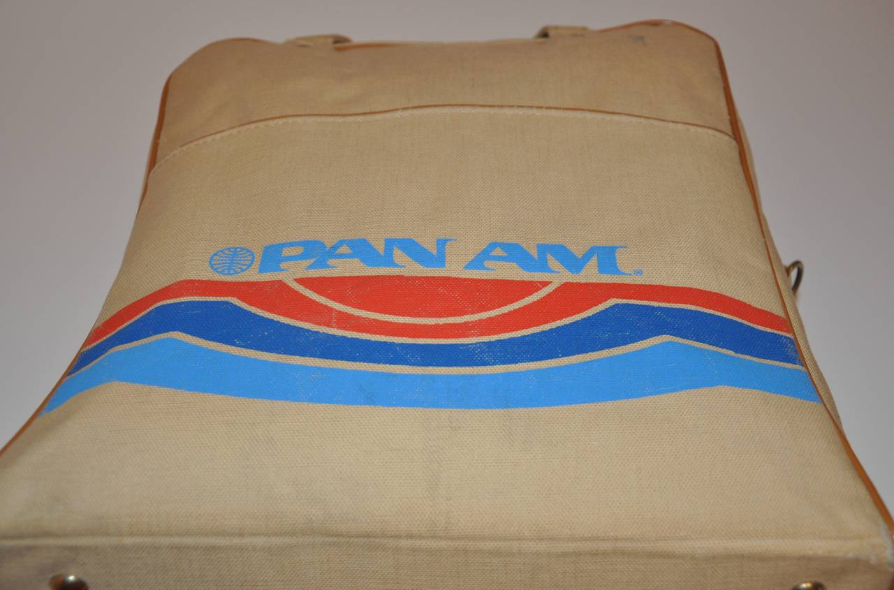 Rare Pan Am Commercial Beige Travel Tote with Signature Logo & I.D. For Sale 1