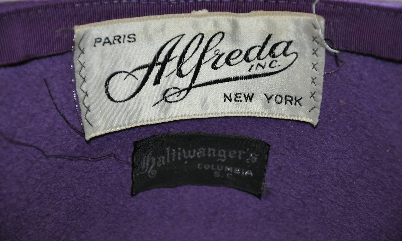 "Alfreda Inc. ""Pirouette"" Purple Brushed Wool & Felt with Silk Accent Hat 3"
