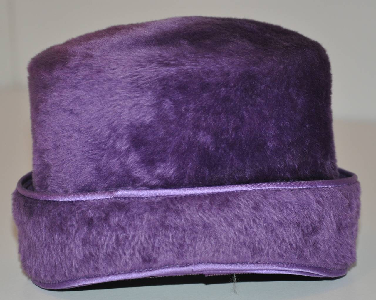 "Alfreda Inc. ""Pirouette"" Purple Brushed Wool & Felt with Silk Accent Hat 2"