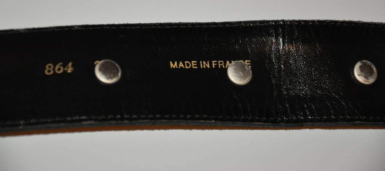 Black Yves Saint Laurent Suede with Detailed Top-Stitching and Silver Hardware Belt For Sale