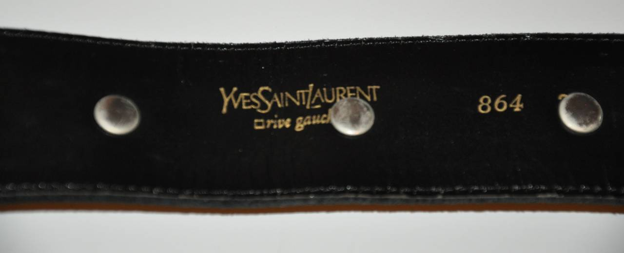 Yves Saint Laurent Suede with Detailed Top-Stitching and Silver Hardware Belt In Good Condition For Sale In New York, NY
