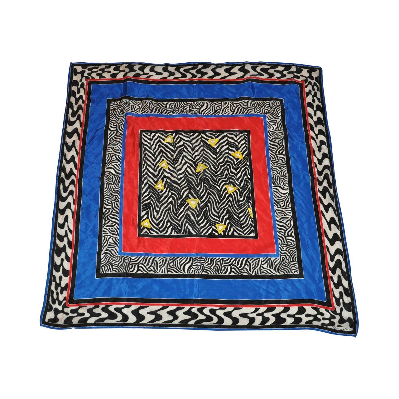 Oscar de la Renta Multi-Colors with Black & White Stripes Silk Scarf For Sale