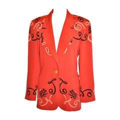 """Escada Bold Red """"Graffiti"""" Silk Jacket"""