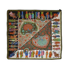 Gianni Versace Multi-Color Multi-Characters with Palsey Silk Scarf