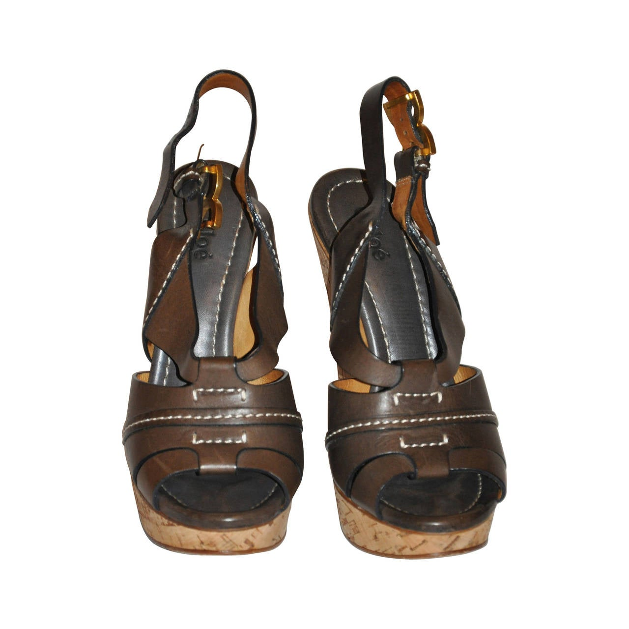 Chloe Warm Brown Calfskin Wedge Sandals with Detailed Top-Stitching