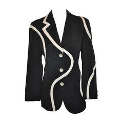 """Moschino """"Cheap & Chic"""" """"Swirl"""" Black & White with Bubble Buttons Jacket"""